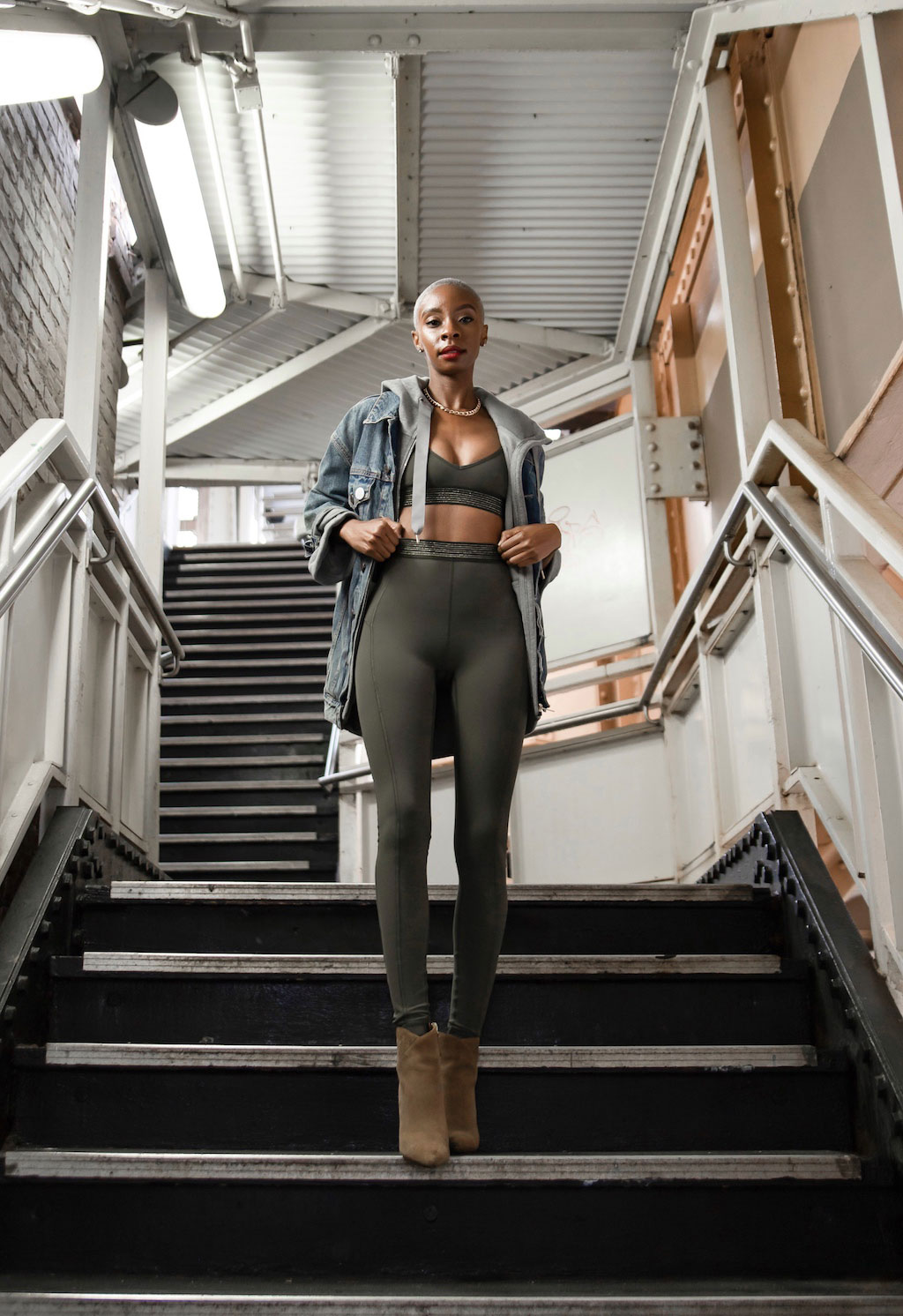 da037ec3ed I styled the Principal Dancer Golden Lining Tights and Bralette (in shade   armory ) with the Principle Dancer Hoodie (in grey) and a denim jacket and  ...